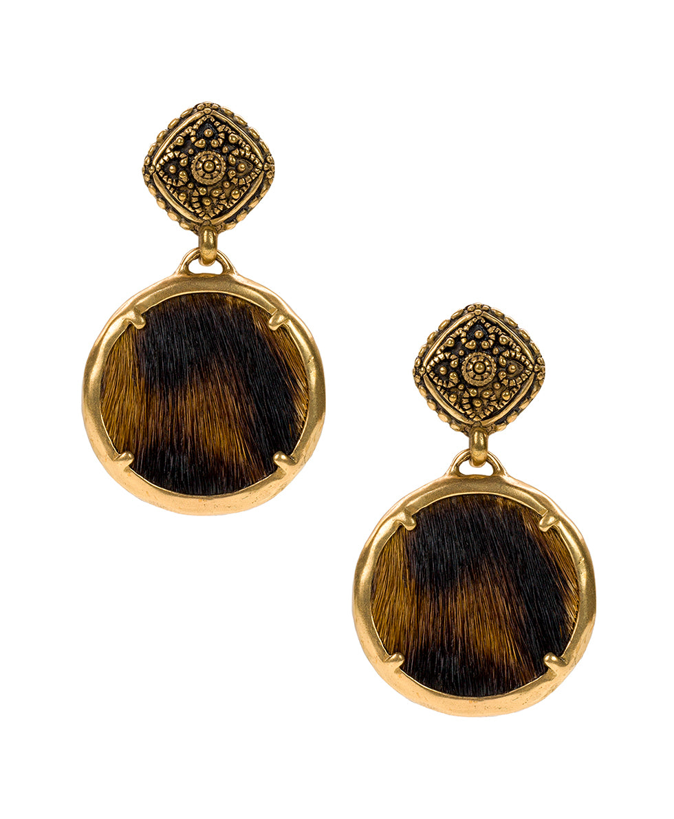 Carina Filigree Earrings - Leopard