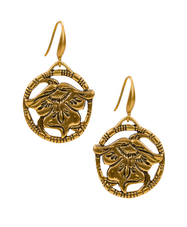 Medallion Earrings - Tooled Flower & Vine - Medallion Earrings - Tooled Flower & Vine