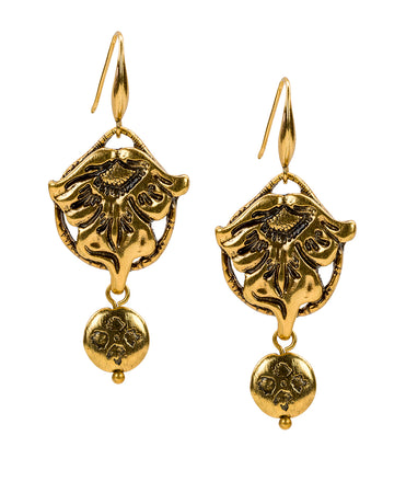 Medallion with Floret Drop - Tooled Flower & Vine - Russian Gold