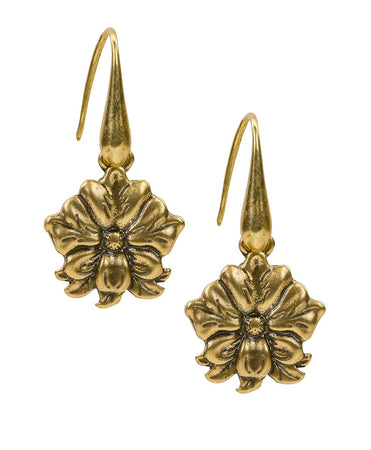 Single Drop Earrings - Tooled Flower & Vine - Russian Gold
