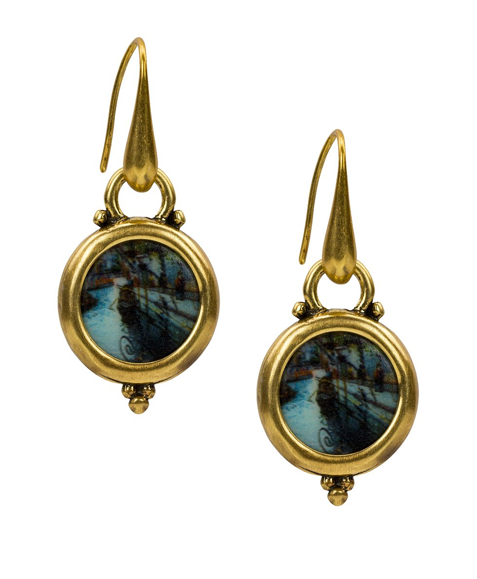 Dangle Round Earrings - Venice Postcard