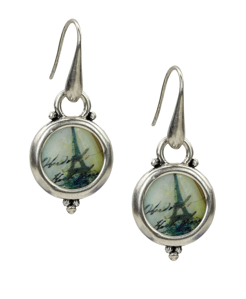 Dangle Round Earrings - Paris Postcard