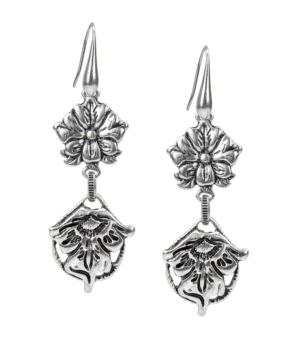 Double Drop Earrings - Tooled Flower & Vine