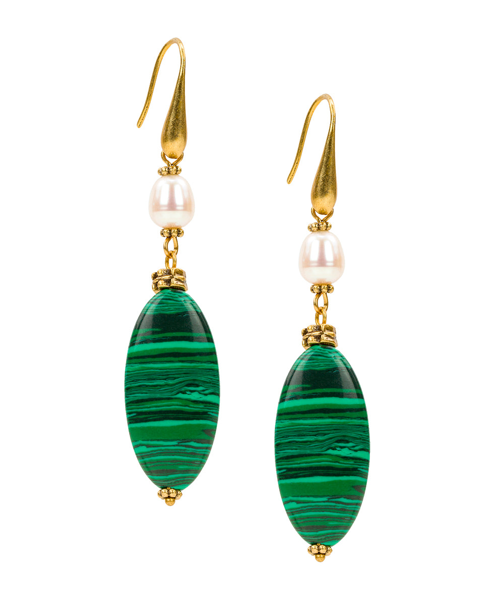Double Drop Malachite Stone Earrings