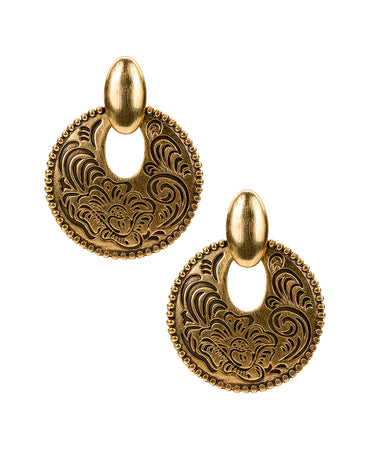 Doorknocker Earrings - Etched Tooling - Russian Gold