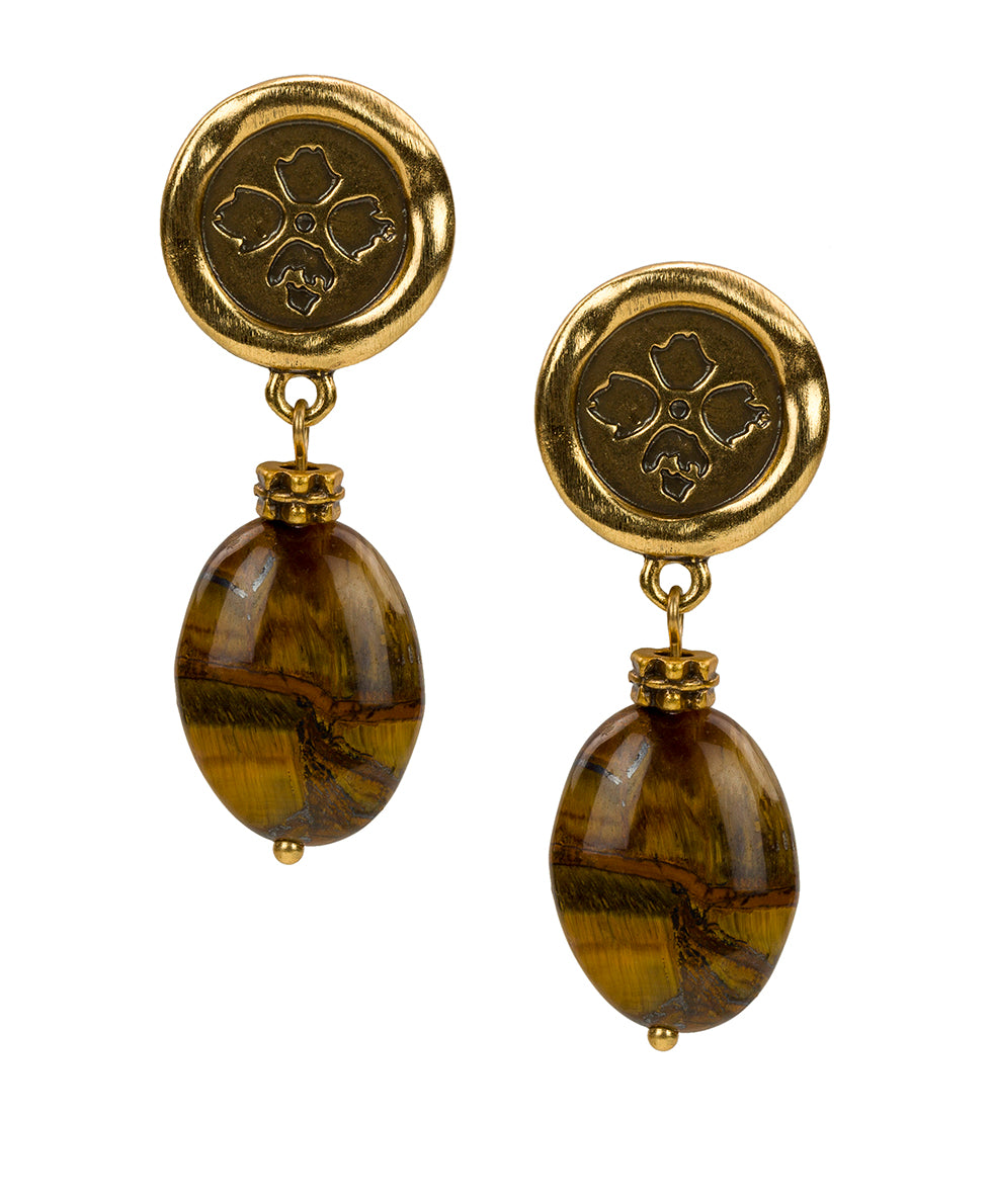 Wax Charm Tiger's Eye Earrings - Floret Charm