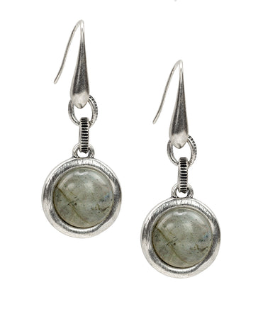 Dangle Earrings - Grey Labradorite Cabochon - Dangle Earrings - Grey Labradorite Cabochon