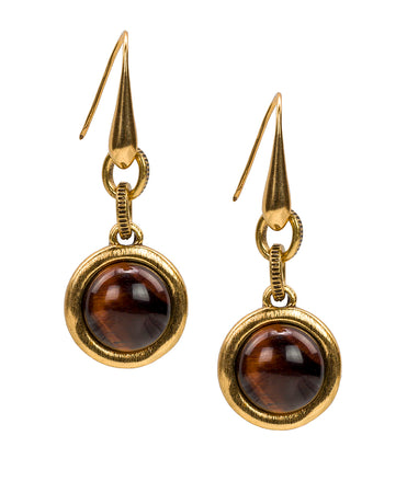 Dangle Earrings - Red Tiger's Eye Cabochon - Dangle Earrings - Red Tiger's Eye Cabochon