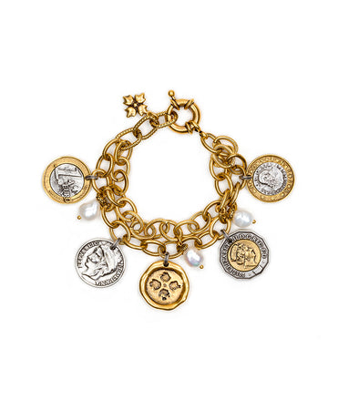 World Coin Double Charm Bracelet - World Coin Double Charm Bracelet