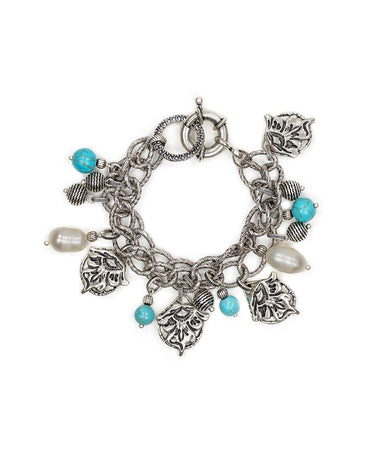 Double Chain Charm Bracelet - Tooled Flower & Vine - Double Chain Charm Bracelet - Tooled Flower & Vine