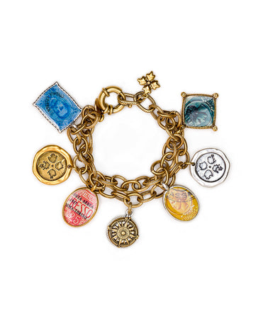 World Stamp Charm Bracelet - Russian Gold