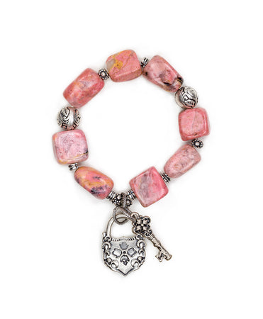 Lock & Key Rhodonite Stretch Bracelet