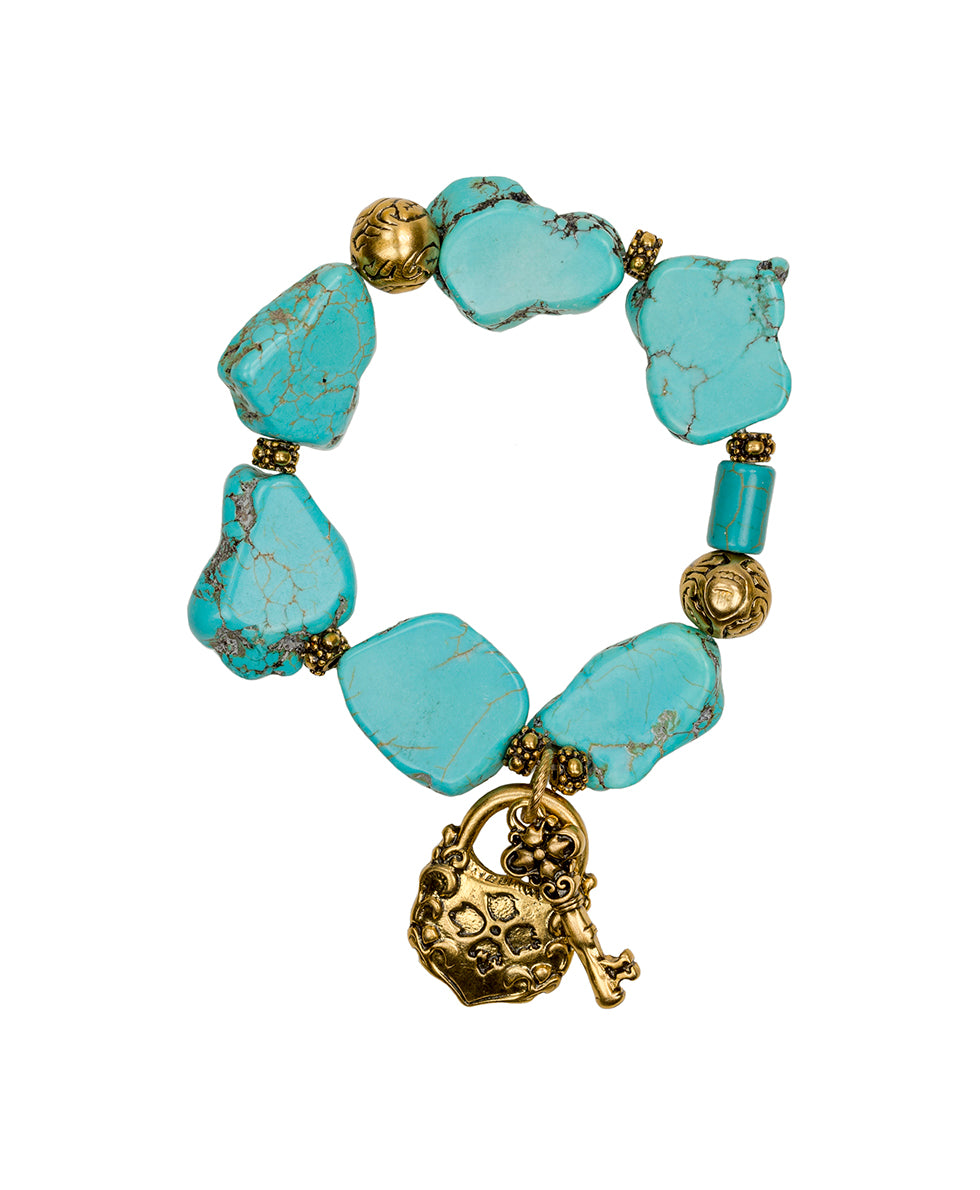 Lock & Key Turquoise Stretch Bracelet - Lock & Key Turquoise Stretch Bracelet