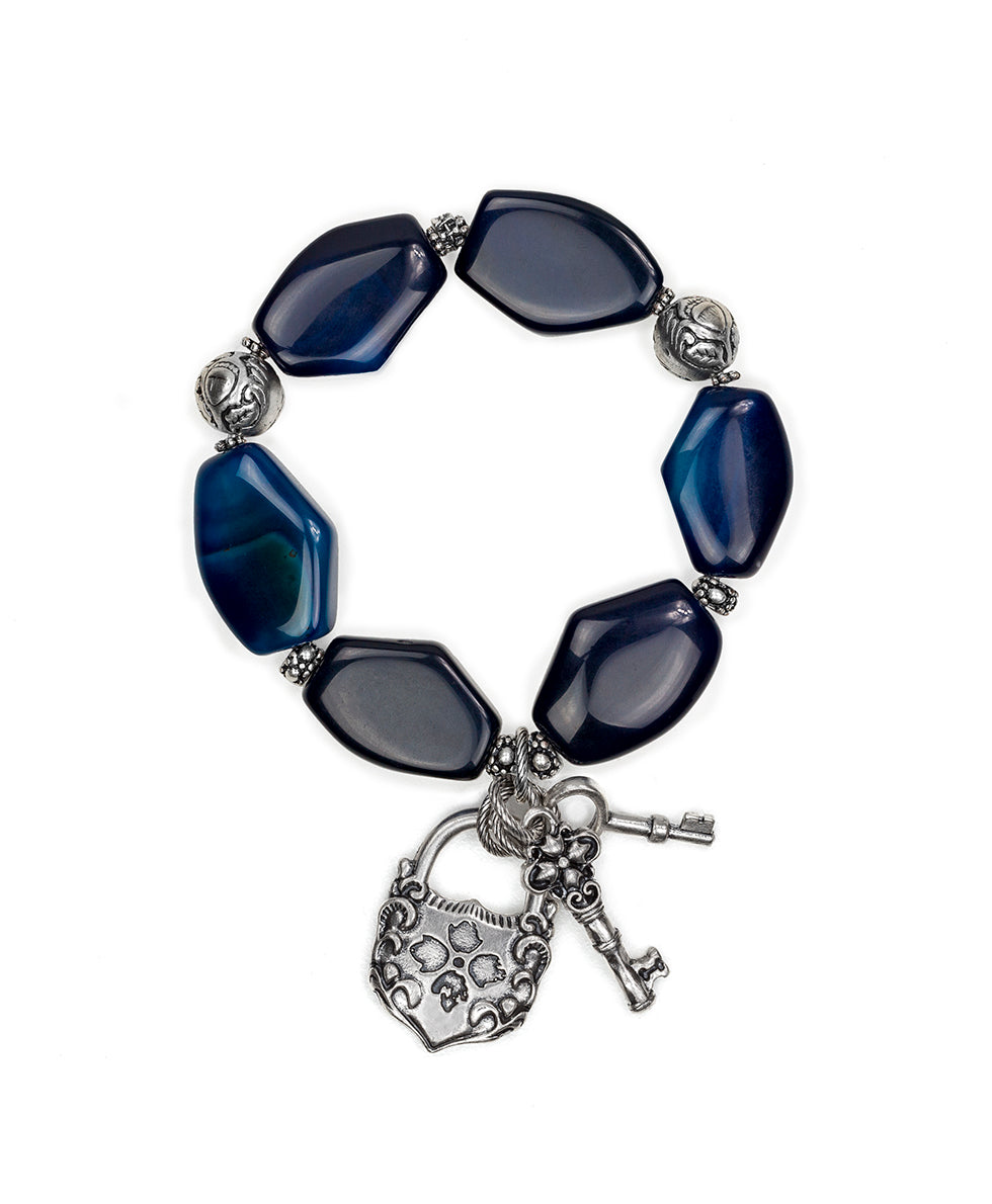 Lock & Key Blue Agate Stretch Bracelet