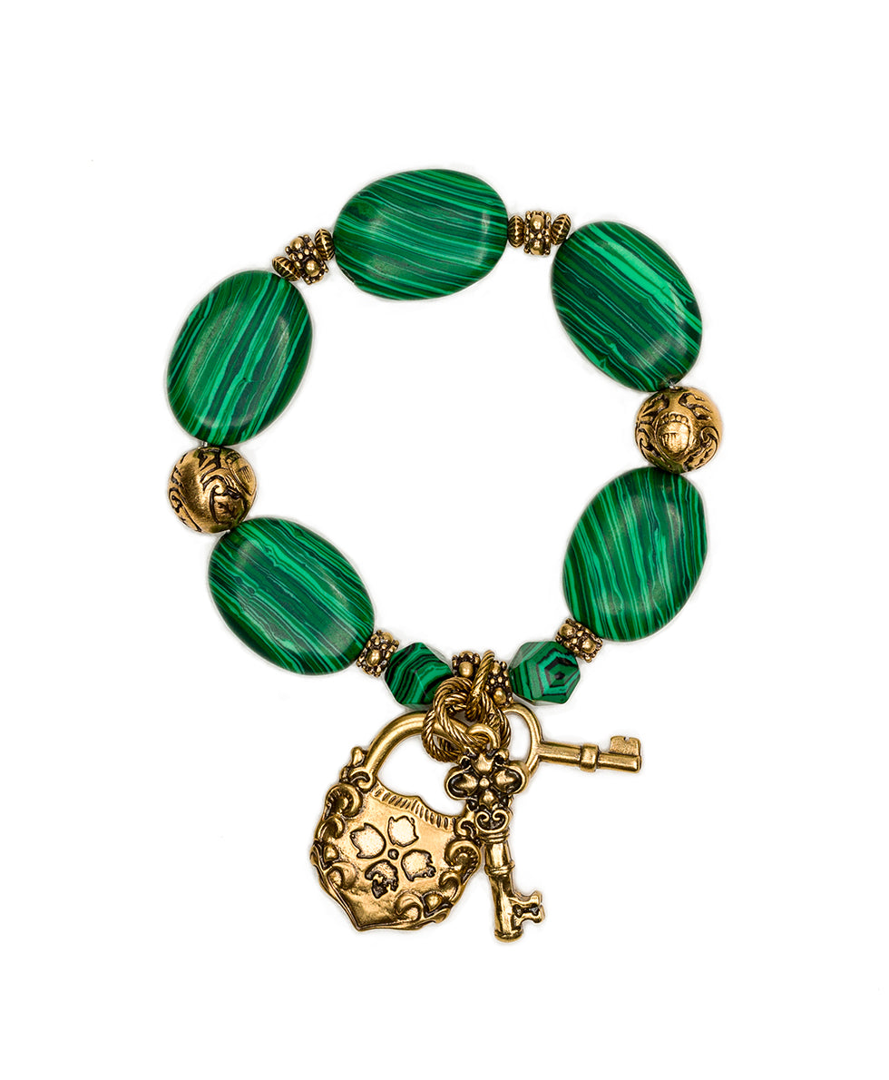 Lock & Key Malachite Stretch Bracelet