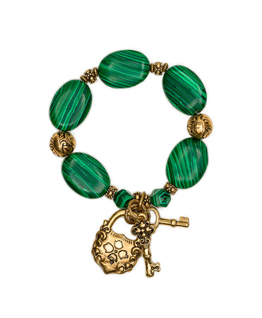 Lock & Key Stretch Bracelet - Malachite Stone - Lock & Key Stretch Bracelet - Malachite Stone