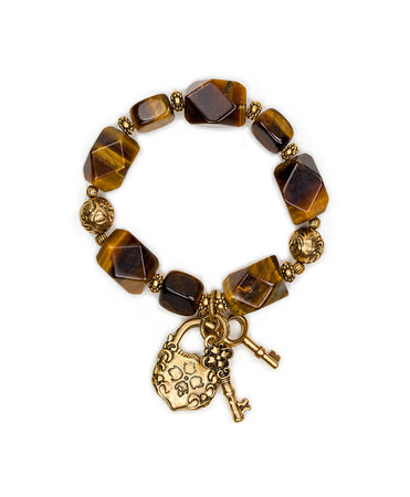 Lock & Key Tiger's Eye Stretch Bracelet - Lock & Key Tiger's Eye Stretch Bracelet