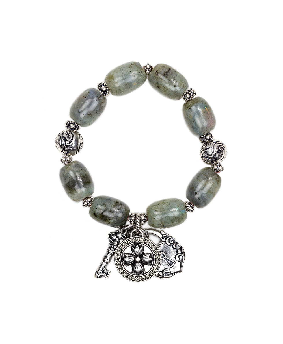 Grey Labradorite Stretch Bracelet - Romantic Travel