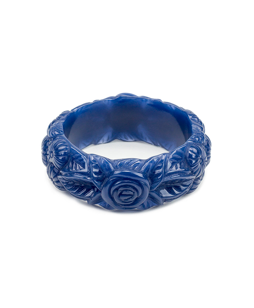 Carved Floral Resin Bangle - Midnight Blue