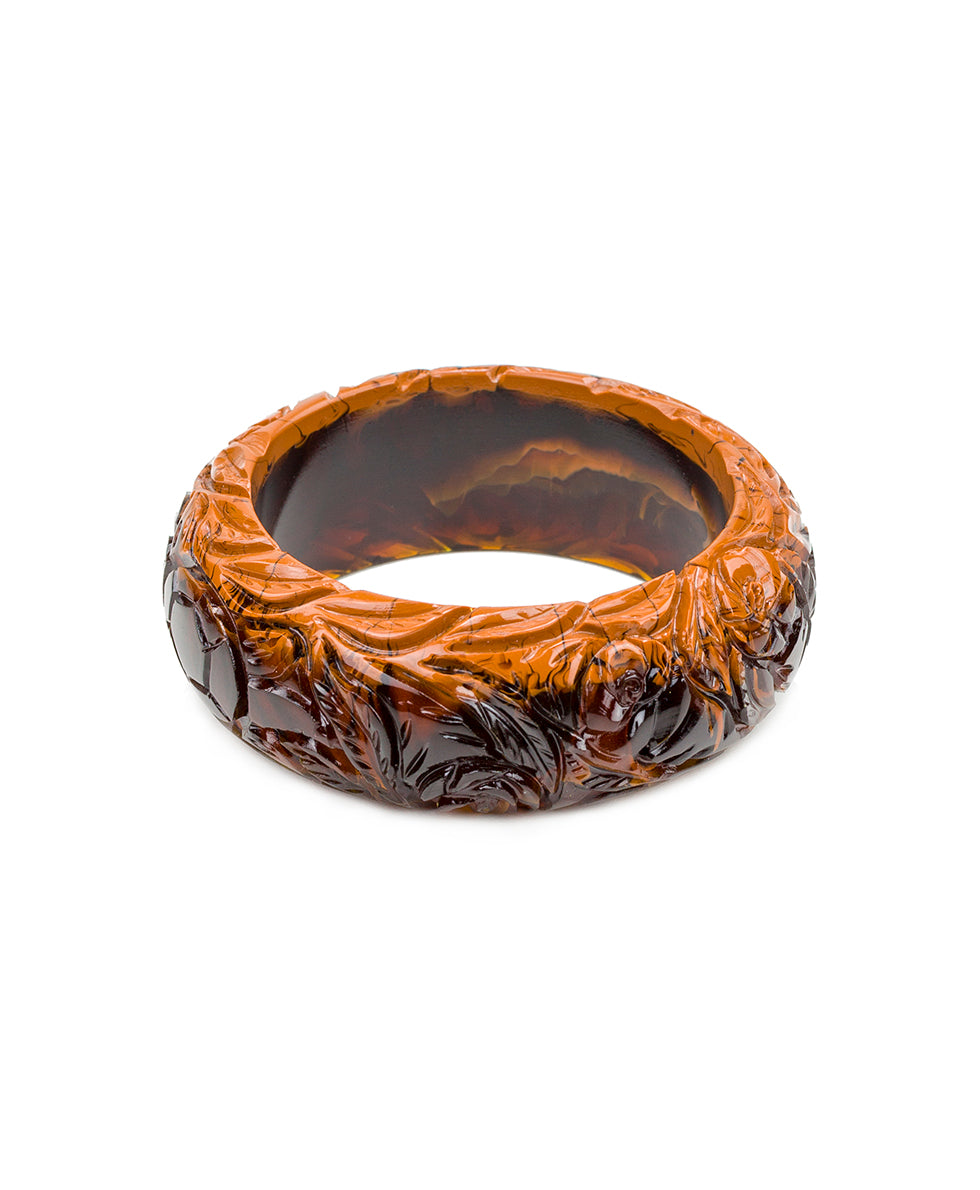 Carved Floral Resin Bangle - Brown