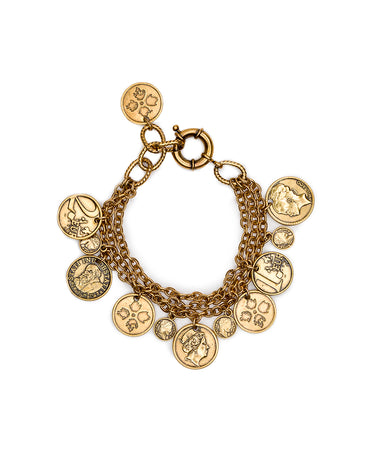 Triple Chain Bracelet - World Coin - Russian Gold