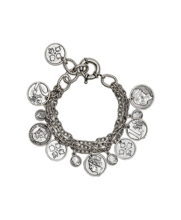 Triple Chain Bracelet - World Coin - Silver Ox