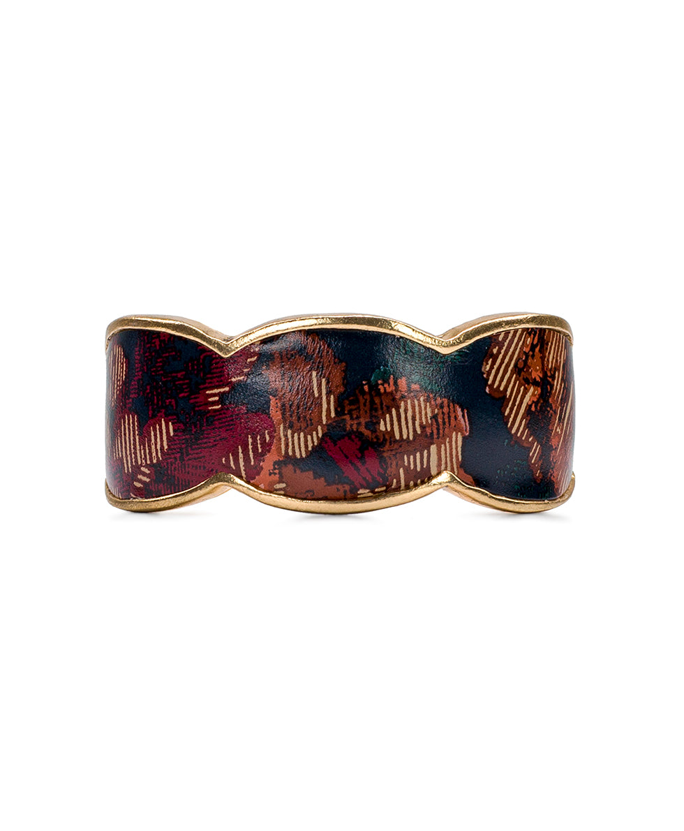 Elisabetta Leather Inset Cuff - Fall Tapestry