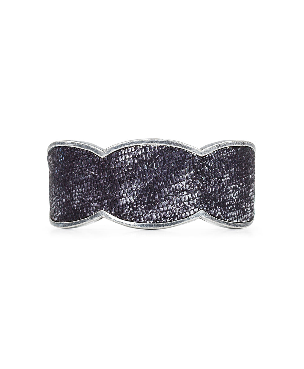 Elisabetta Exotic Lizard Pewter Leather Inset Cuff