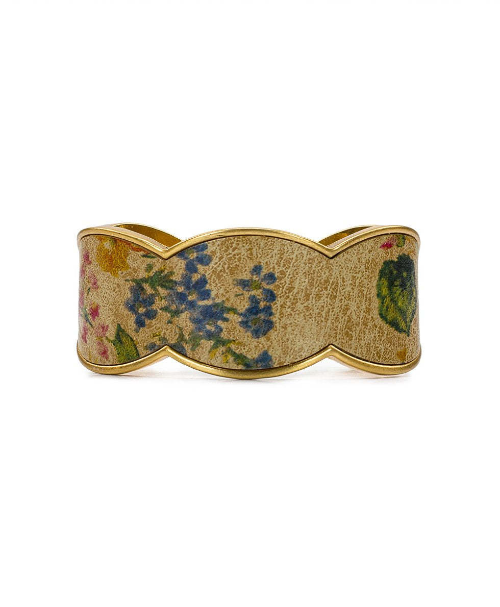 Elisabetta Prairie Rose Leather Inset Cuff 1