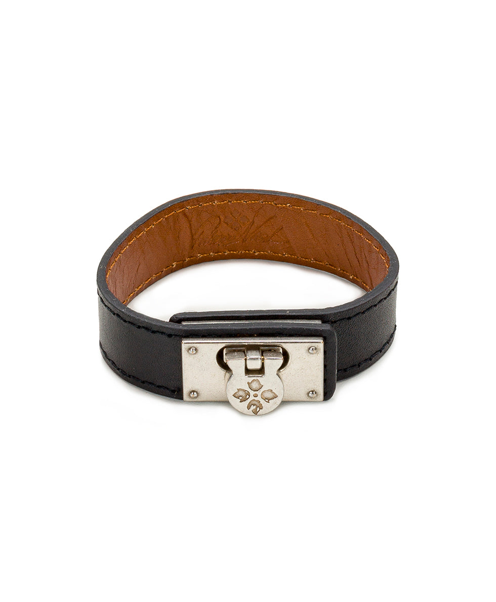 Natalia Black Leather Cuff