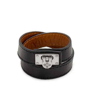 Rose Black Leather Cuff