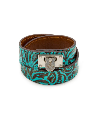 Rose Turquoise Leather Cuff