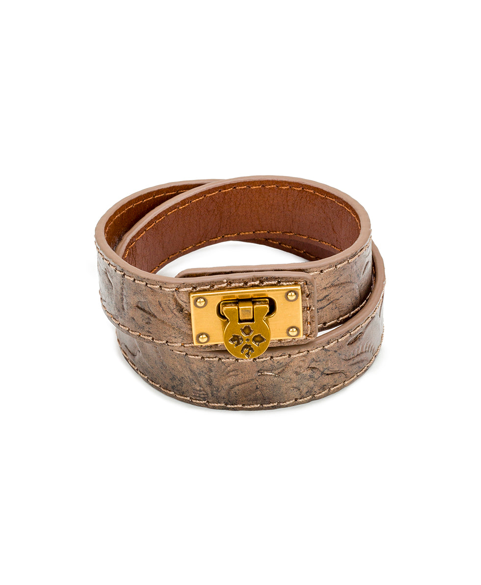 Rose Leather Cuff - Tooled Antique Gold