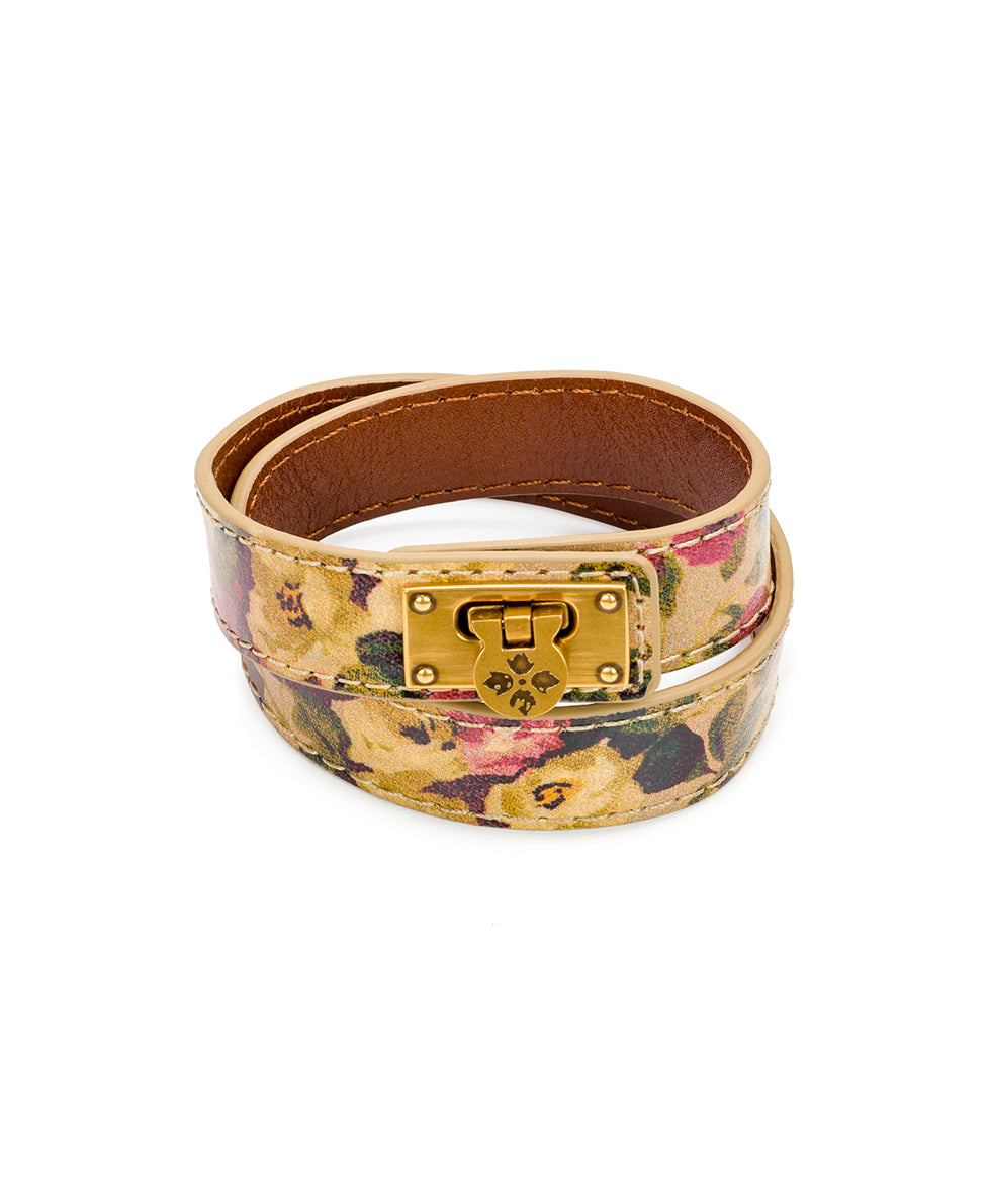 Rose Leather Cuff - Antique Rose
