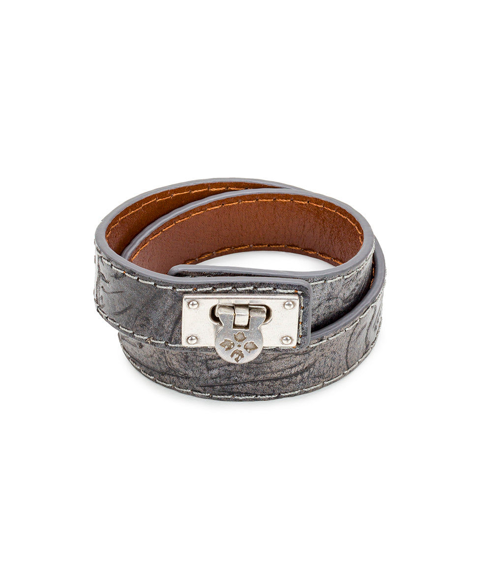 Rose Leather Cuff - Tooled Antique Silver