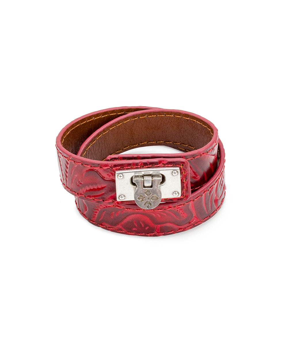 Rose Leather Cuff - Berry Red