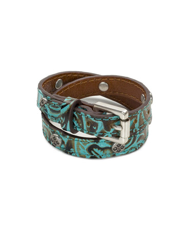Adelina Stud Leather Cuff - Turquoise/Silver Ox