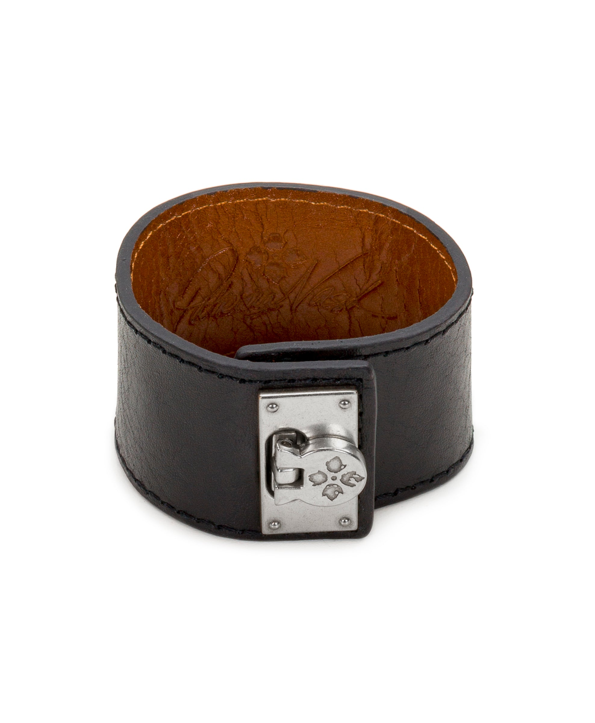 Irena Black Leather Cuff