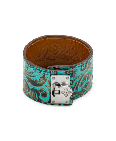 Irena Turquoise Leather Cuff