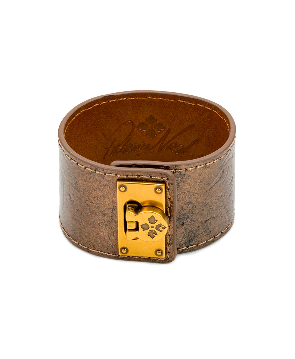Irena Leather Cuff - Antique Gold