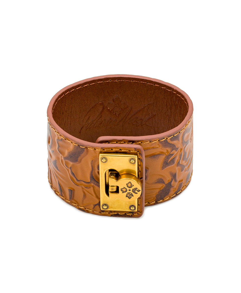 Irena Leather Cuff - Antique Rose Gold