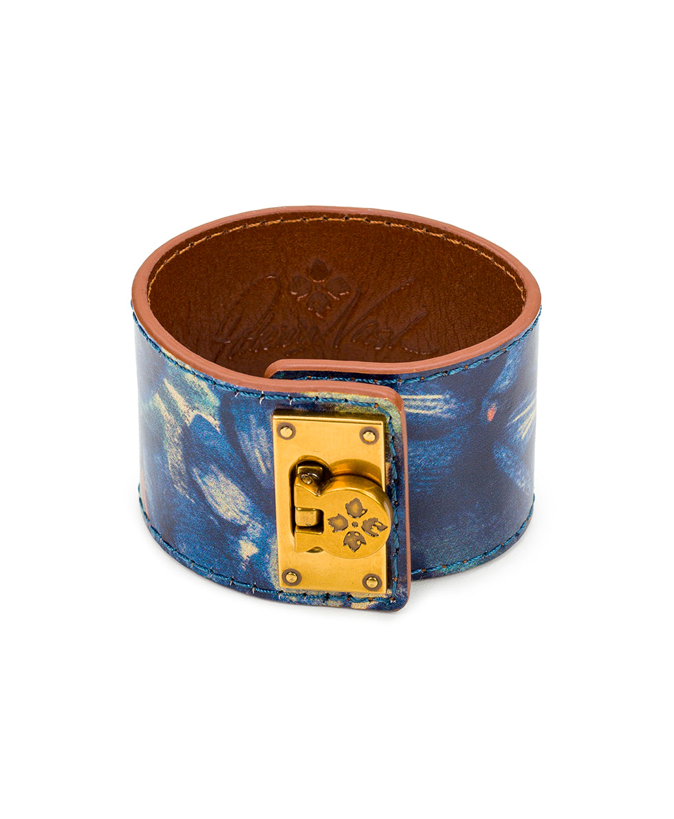 Irena Leather Cuff - Blu Clay Floral