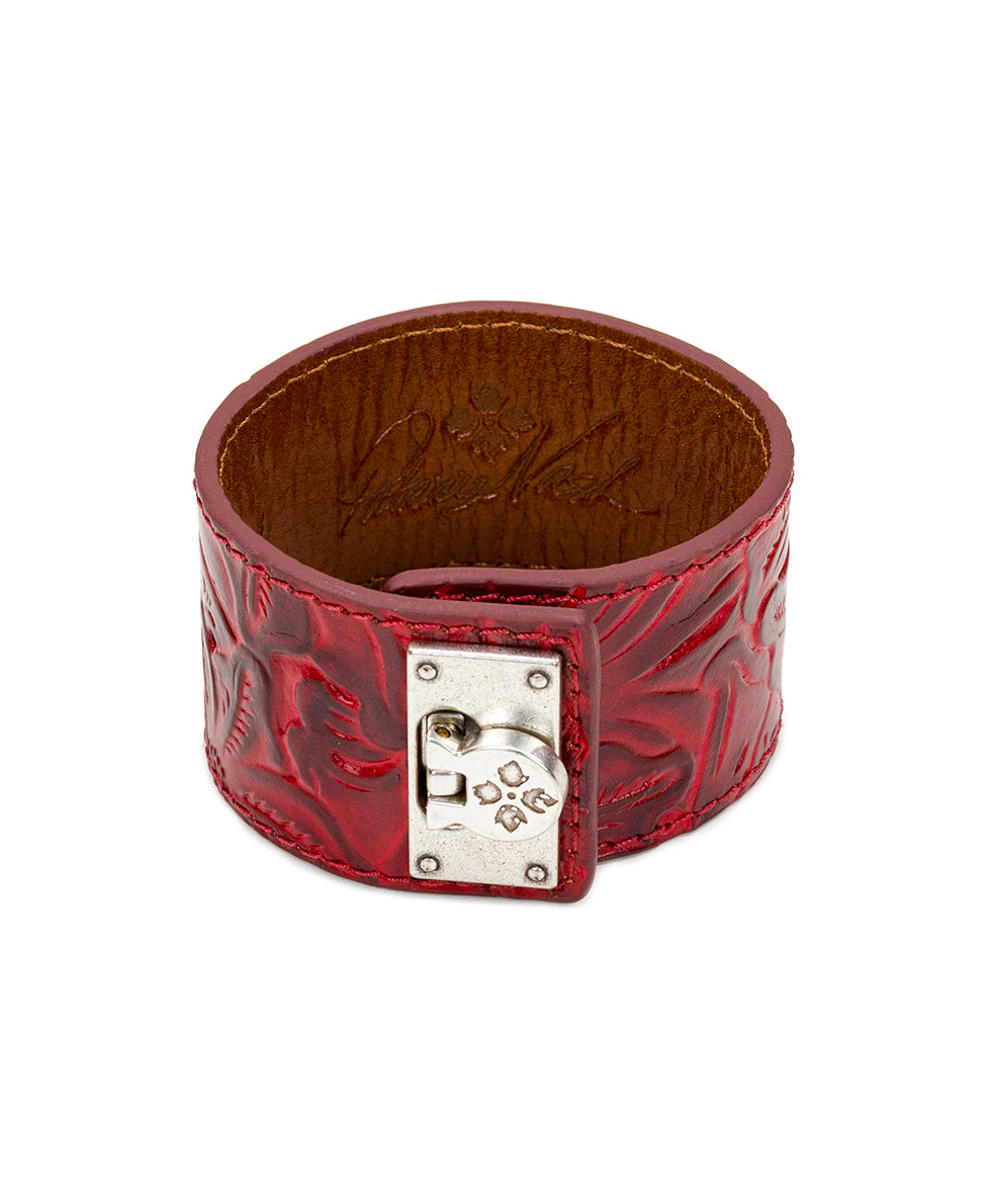 Irena Leather Cuff - Tooled Berry Red