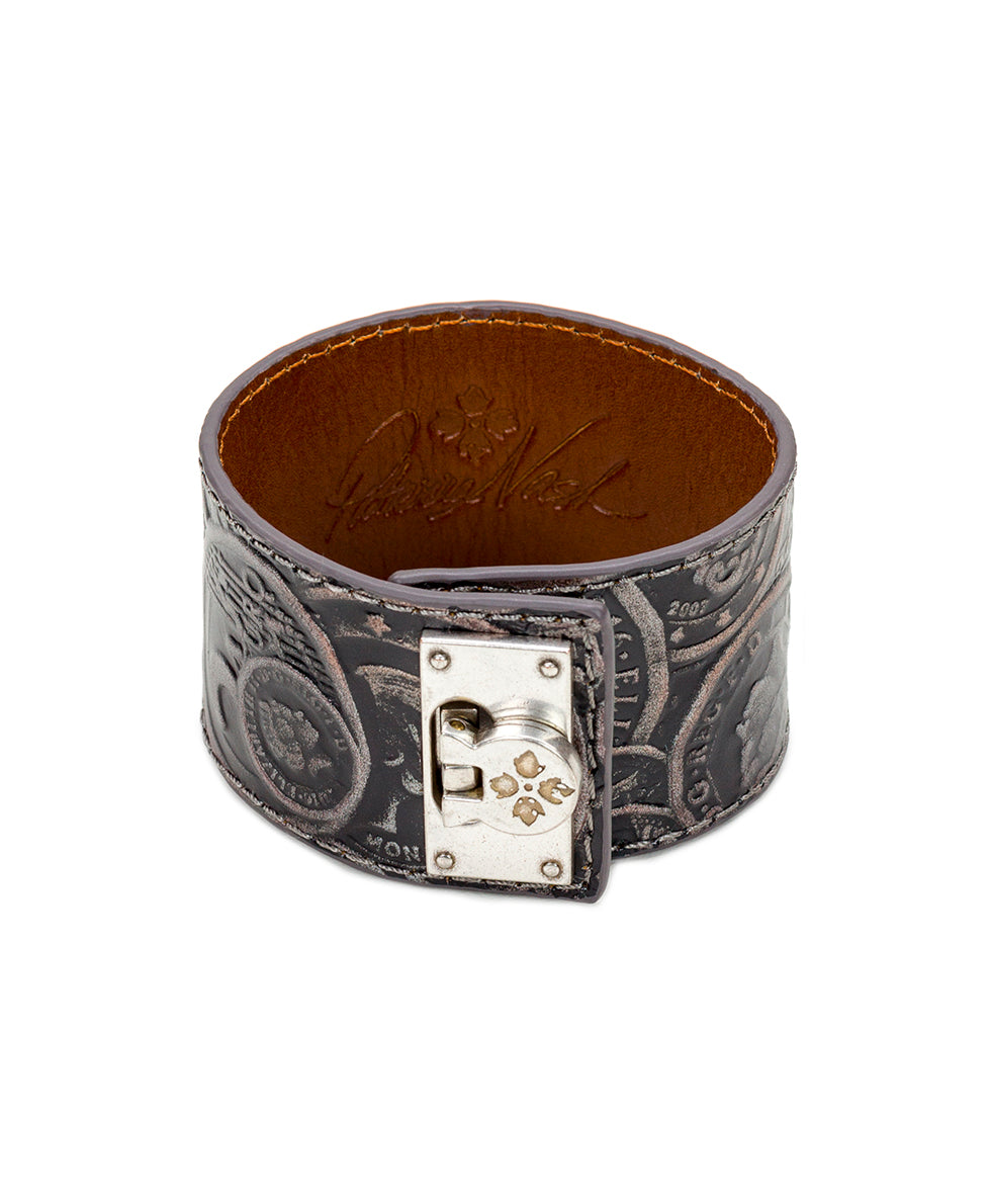 Irena Leather Cuff - Coin Tooled Pewter
