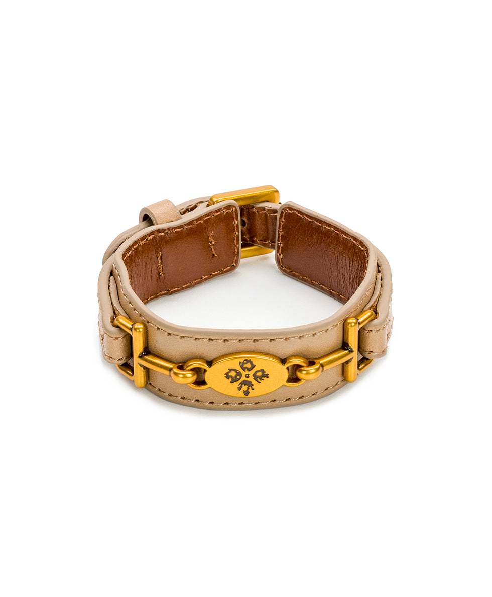 Delphine Leather Cuff - Biscuit