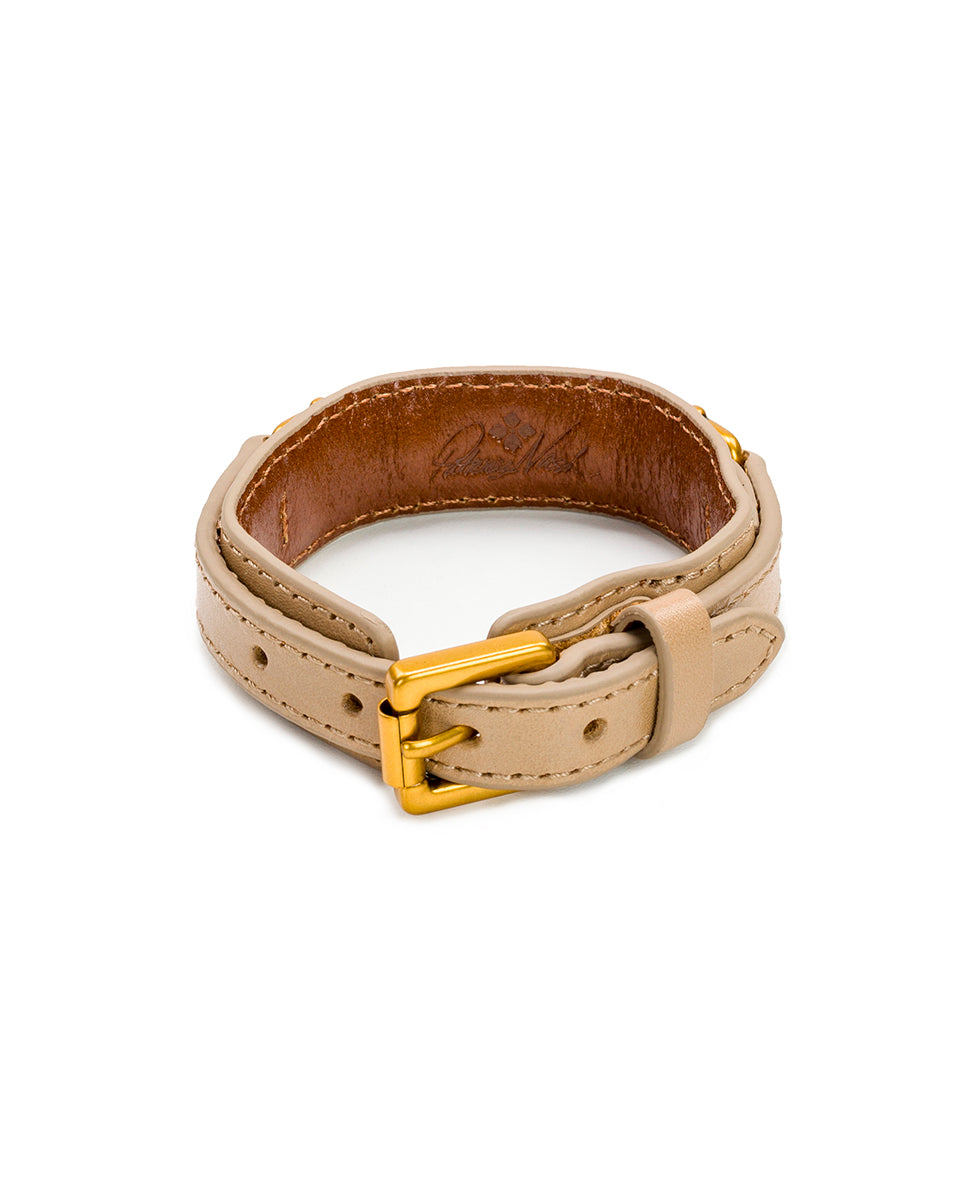 Delphine Leather Cuff - Biscuit 2