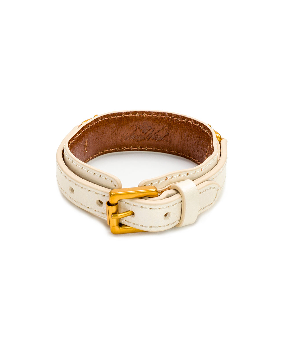 Delphine Leather Cuff - White 2