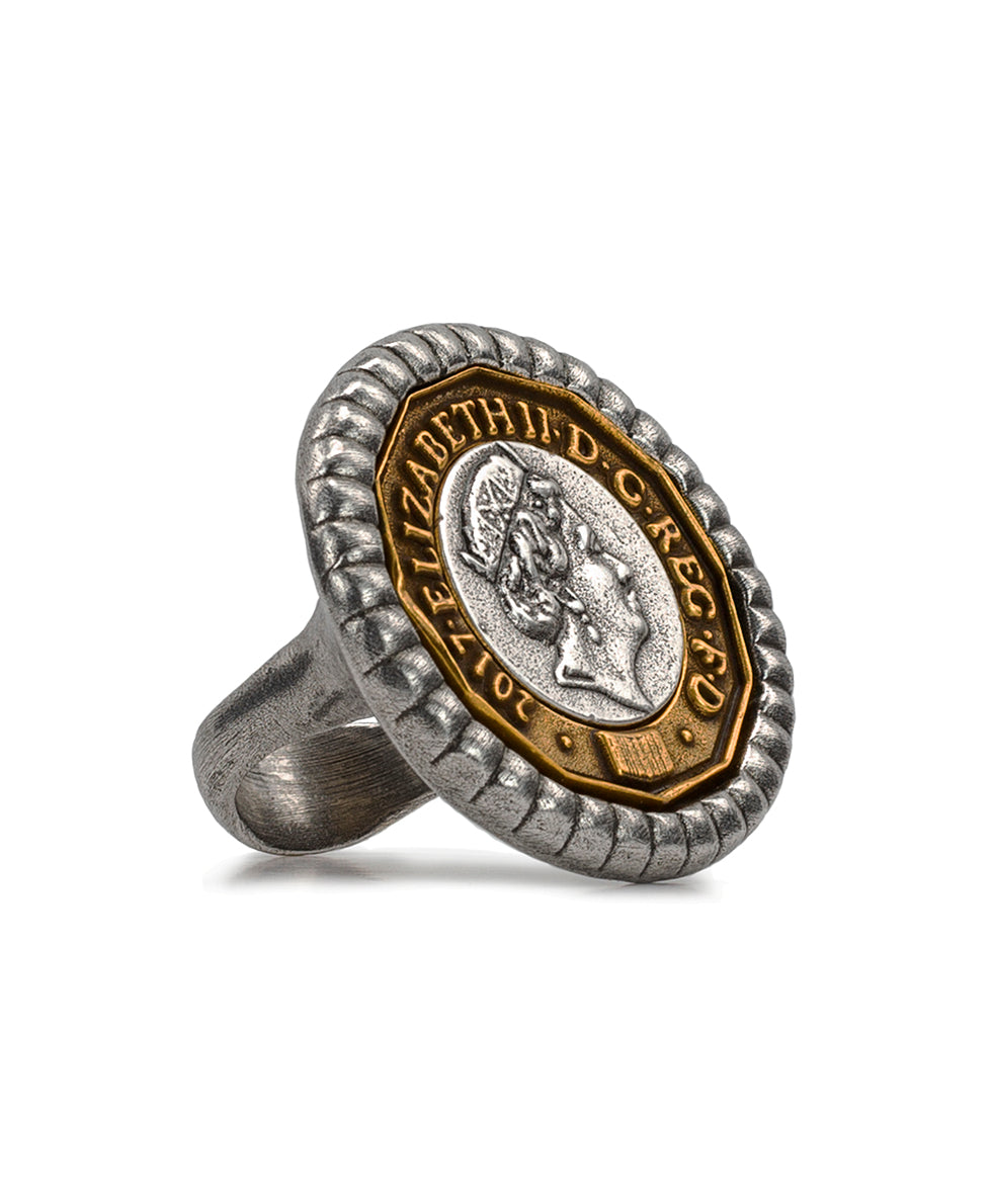 World Coin Pound Ring - Silver ox