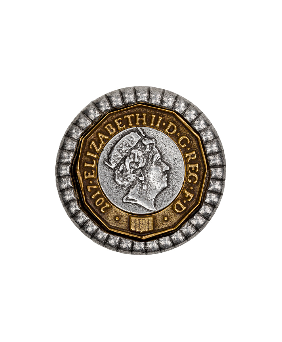 World Coin Pound Ring - Silver ox 2