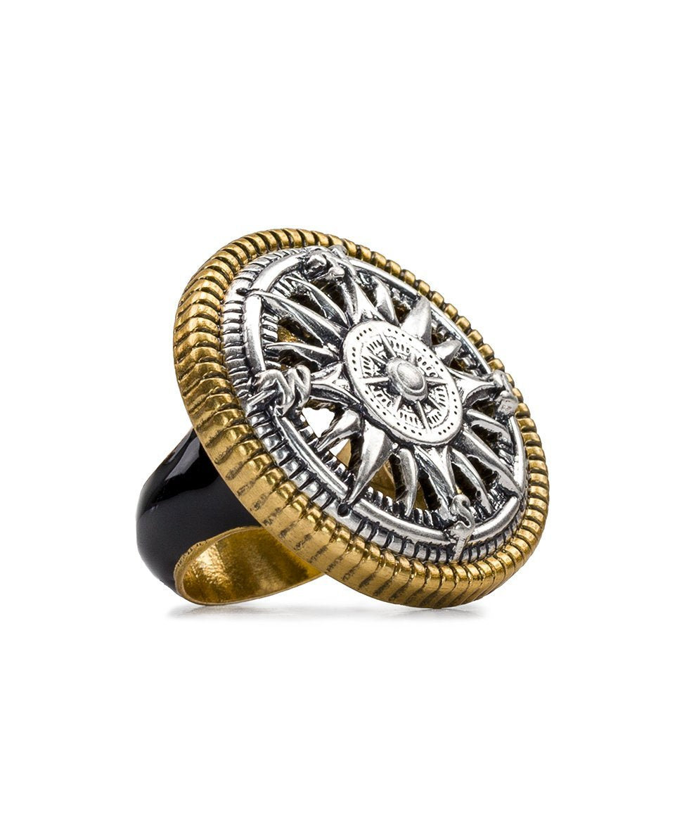 Russian Gold Compass Enamel Ring